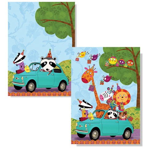 Cartes D'Art Happy Birthday Animals 3D Postcard