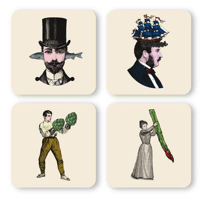 Gangzai Design Set of 4 Coasters - People