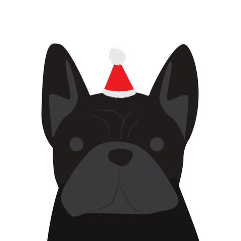 Santa Hat Christmas Card (French Bulldog - Black)