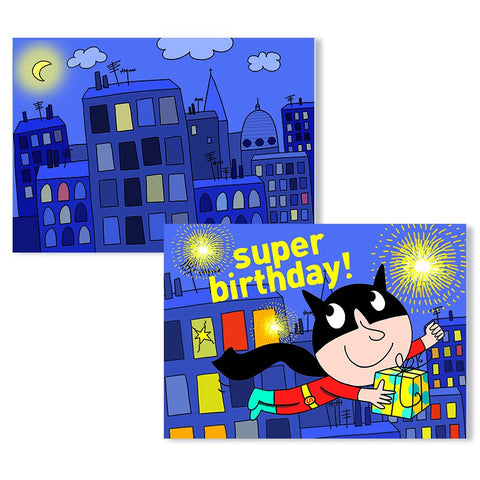 Cartes D'Art Happy Birthday Super Hero 3D Postcard