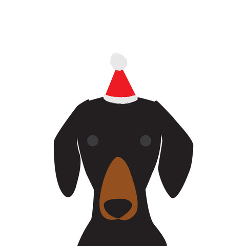 Santa Hat Christmas Card (Dachshund - Black & Tan)