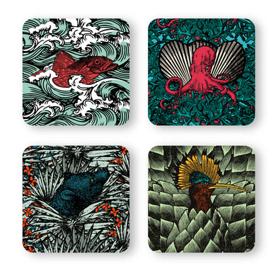 Set of 4 Coasters, Safari #2