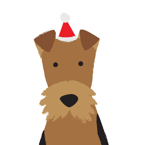 Santa Hat Christmas Card (Airedale)