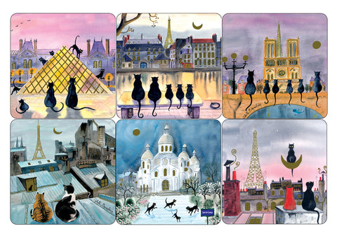 Cartes D'Art Parisian Cats Coaster Set