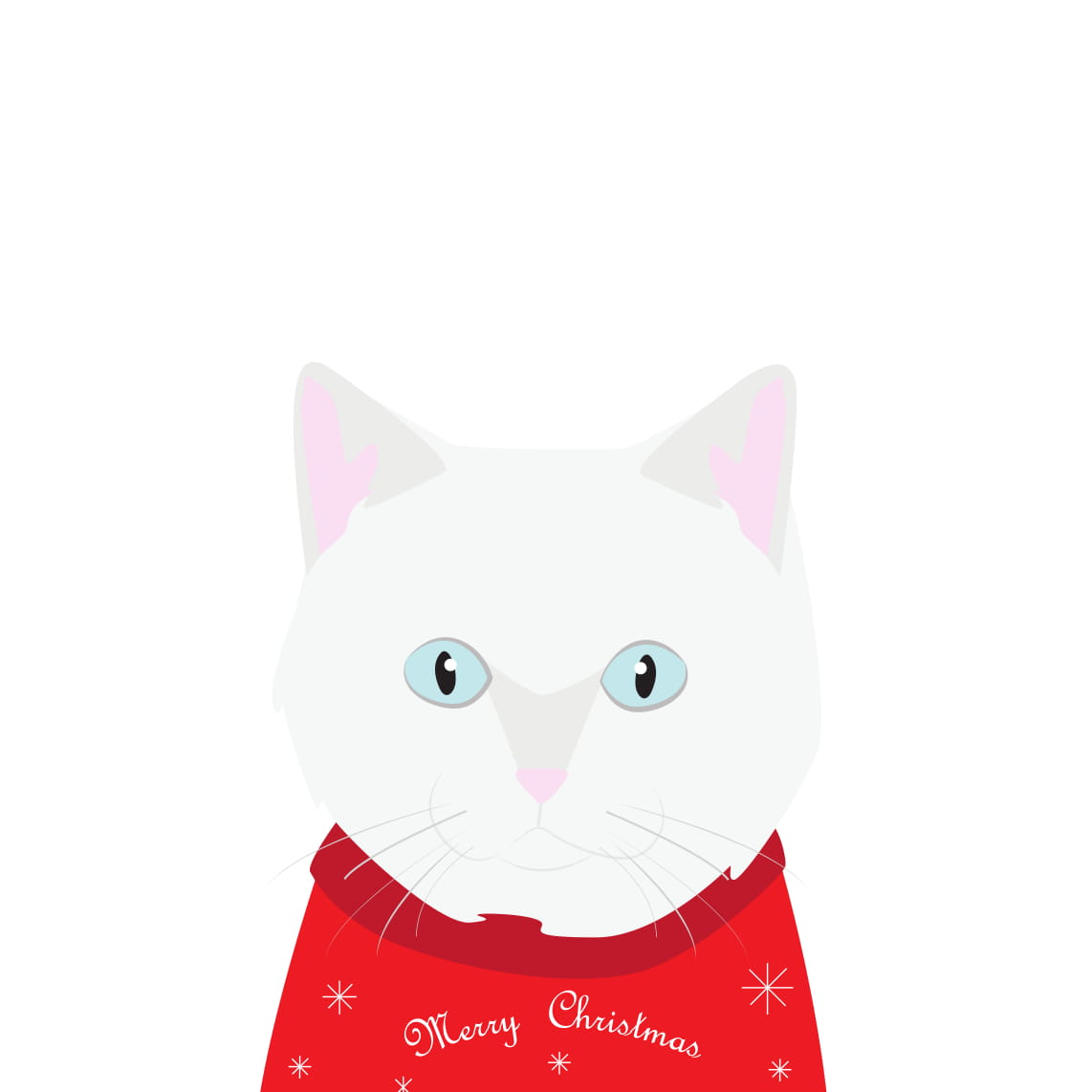 Christmas Sweater Card (White British Shorthair Cat)