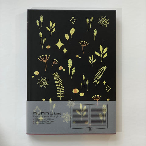 Botanical Black Notebook (A5, Lined)