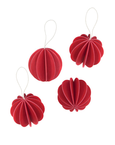 4 Baubles, Bright Red (6cm)