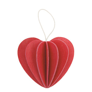 S Heart Ornament, Bright Red (4.5cm)