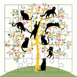 Black Cats In Tree Puzzle Card