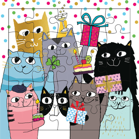 Happy Birthday Cats Puzzle Card