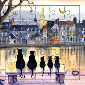 Seine with Black Cats Puzzle Card