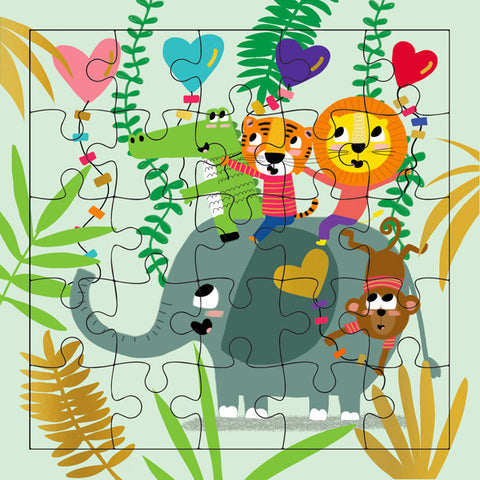 Elephant and Friends Puzzle Card
