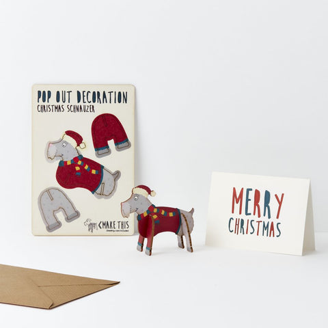 Pop Out Schnauzer Christmas Card