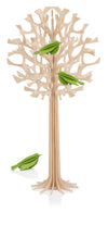 L Tree, Natural Wood + Pale Green Birds (34cm)