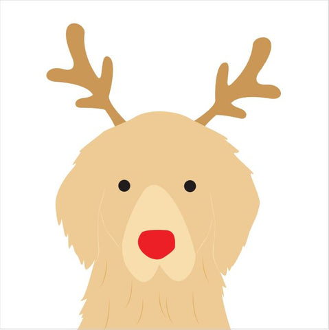 Reindeer Antlers Christmas Card (Golden Retreiver)