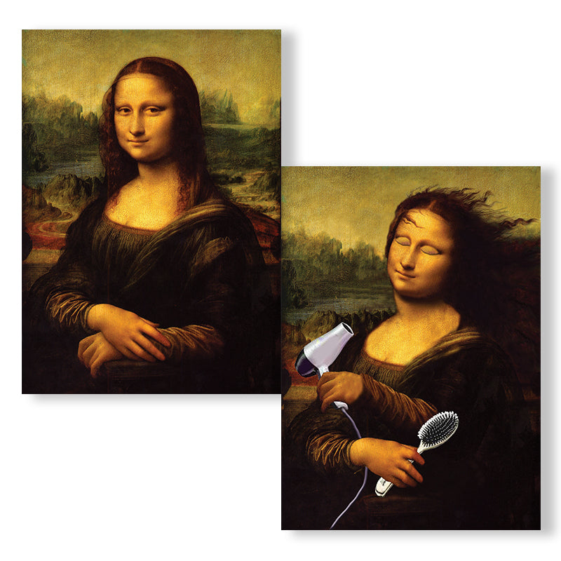 Cartes D'Art Mona Lisa with Hairbrush 3D Postcard