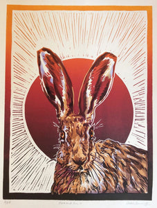 Sarah Cemmick Lino Cuts Hare and Sun 2