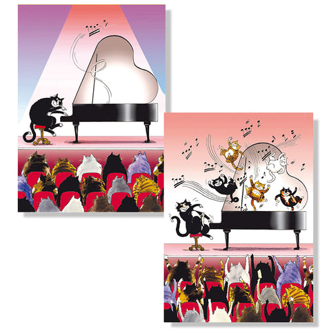 Cartes D'Art Cat Pianist 3D Postcard
