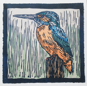 Sarah Cemmick Lino Cuts Kingfisher