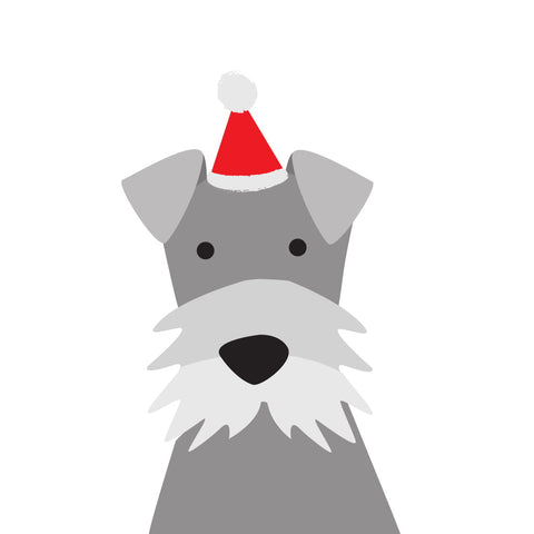 Santa Hat Christmas Card (Schnauzer)