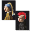 Cartes D'Art Girl With A Pearl Earring - Punk 3D Postcard