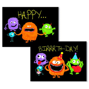 Cartes D'Art Happy Birthday Monsters 3D Postcard