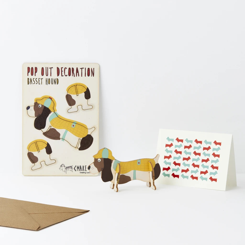 Pop Out Basset Hound Card