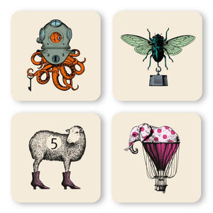Gangzai Design Set of 4 Coasters - Animals