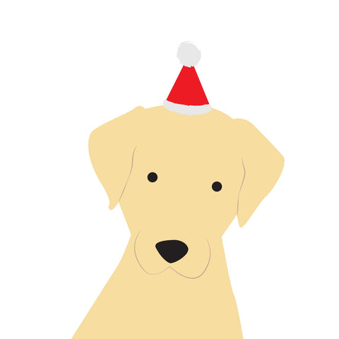 Santa Hat Christmas Card (Labrador - Golden)