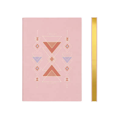 Signature Flat Geo Grid Notebook - A5, Pink