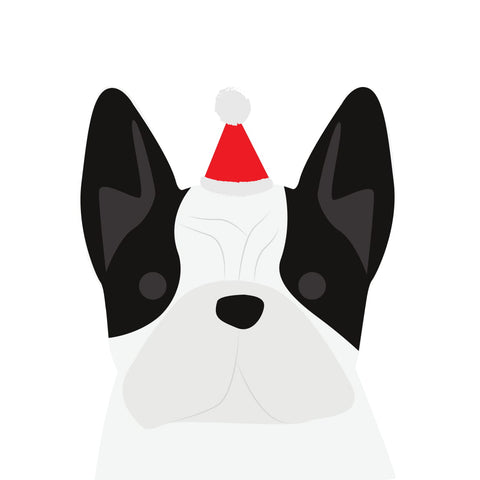 Santa Hat Christmas Card (French Bulldog - Black & White)