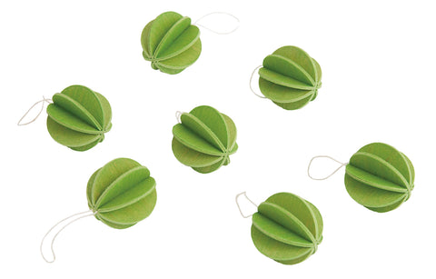 7 Baubles, Light Green (3.5cm)