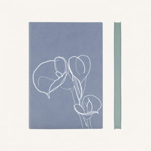 Signature Floral Doodles Blank Notebook (A5, Blue / Calla Lily)