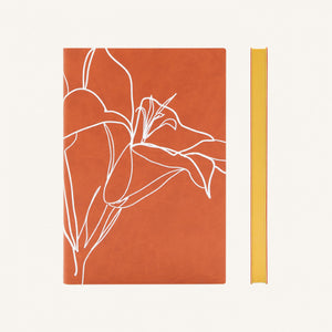 Signature Floral Doodles Blank Notebook (A5, Rust / Lily)