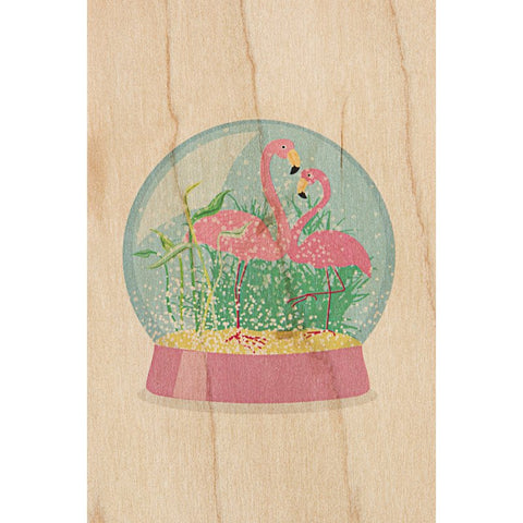 Snow Globe Flamingoes Postcard