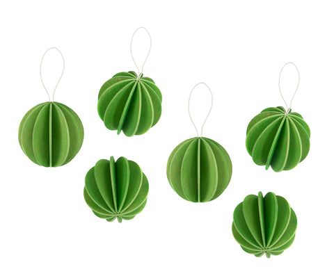 6 Baubles, Light Green (4cm)