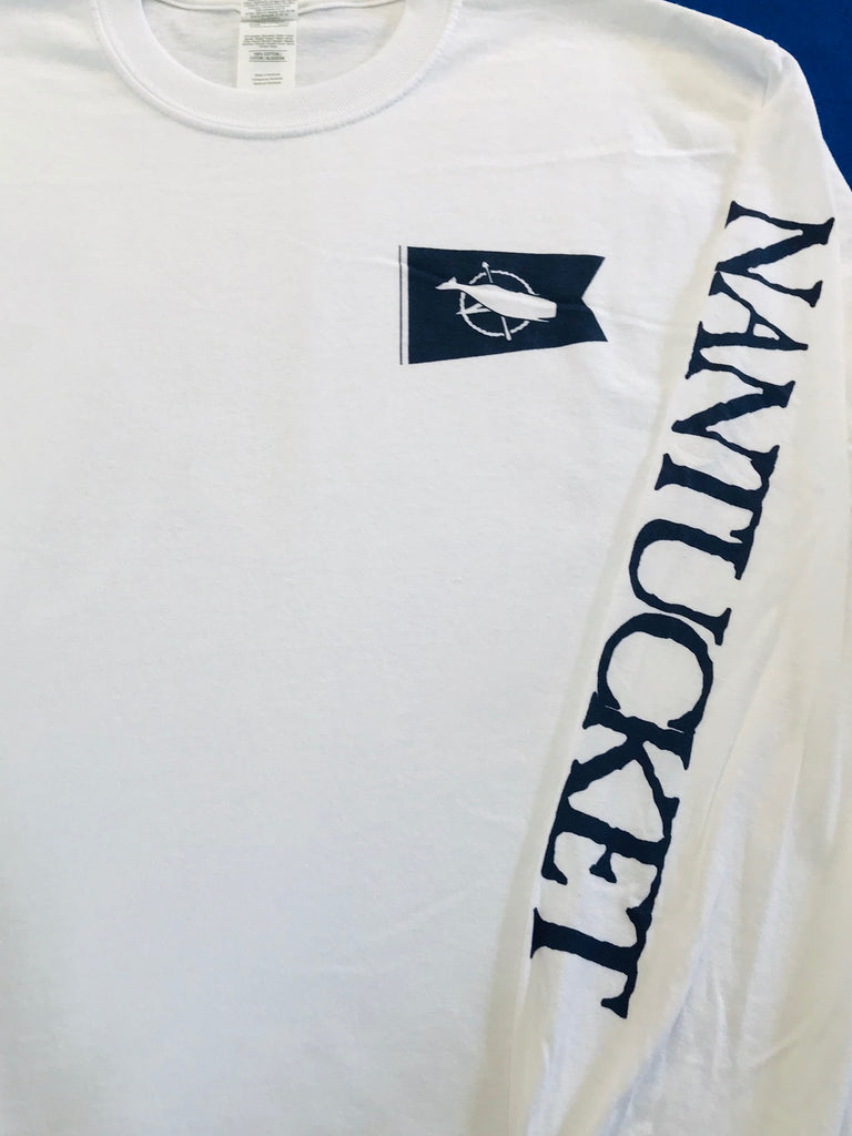 Nantucket Whale Flag Long Sleeve in White