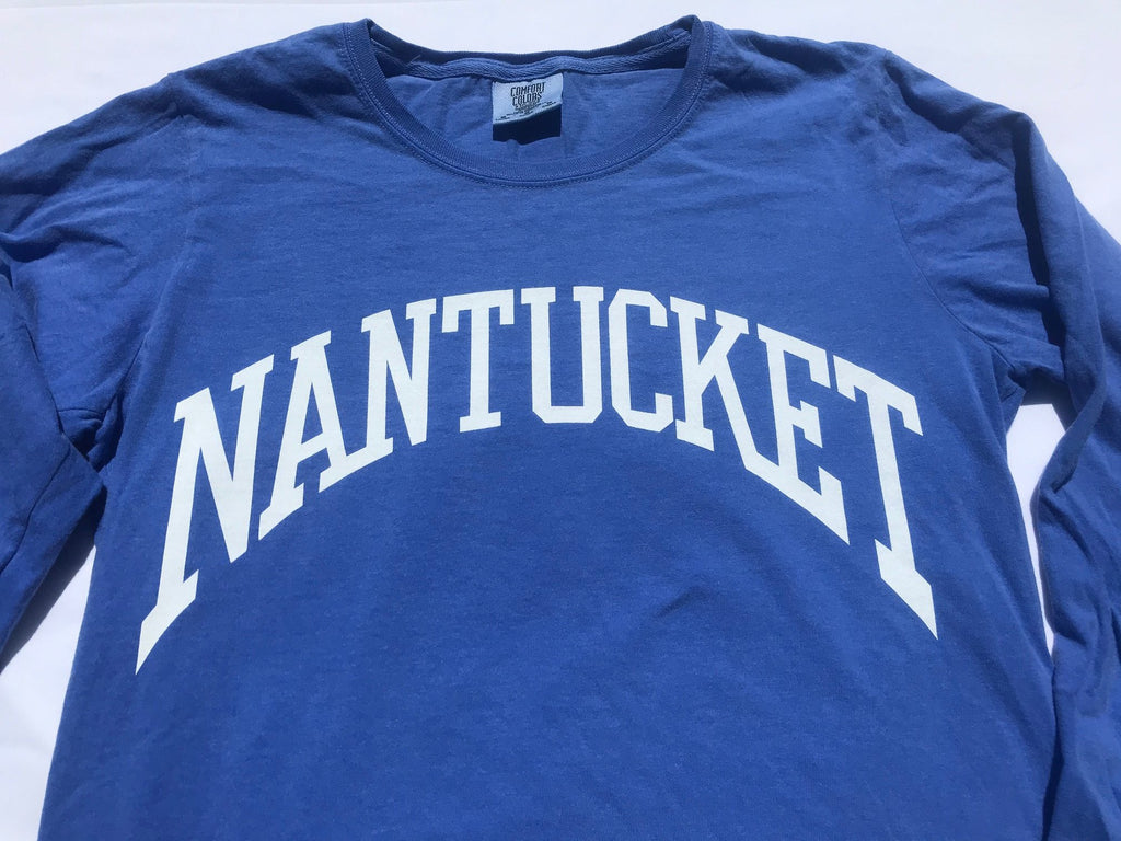 Ladies Nantucket Arch long sleeve tee by Comfort Colors in Periwinkle Blue