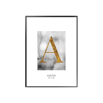 Print poster wall art personalised gold alphabet