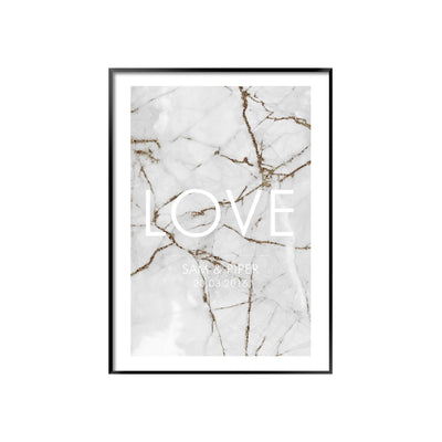 Personalised poster with LOVE text on a white grey and gold marble background with black frame