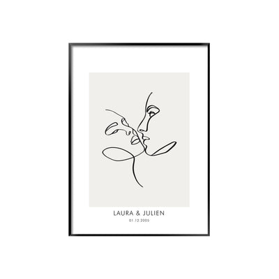 Personalised line art illustration wedding poster