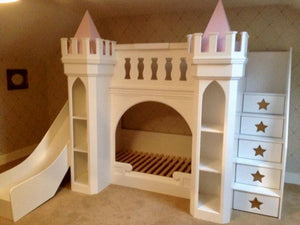 Max Castle Themed Bunk Bed With Shelves