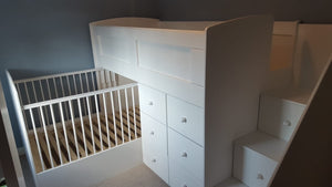 Twin beds with drawers and cot/bed underneath
