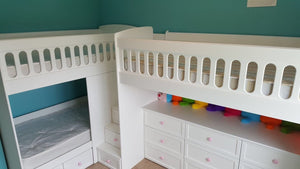 L Shaped Triple Bunk Bed with Storage