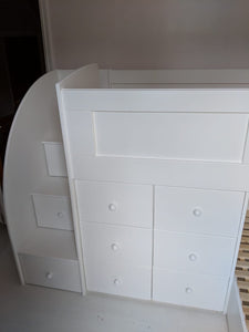 Twin beds with drawer stairs and drawers underneath