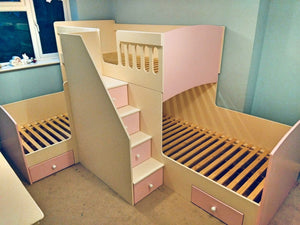 Triple bunk beds with drawer stairs and drawers underneath