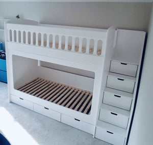 Full size single bunk beds with cut out handles