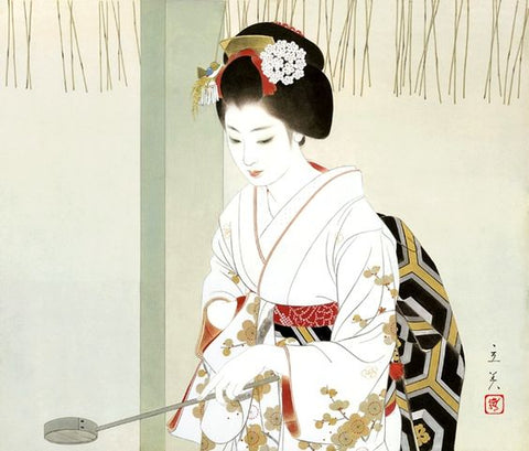 traditional geisha in kimono artwork