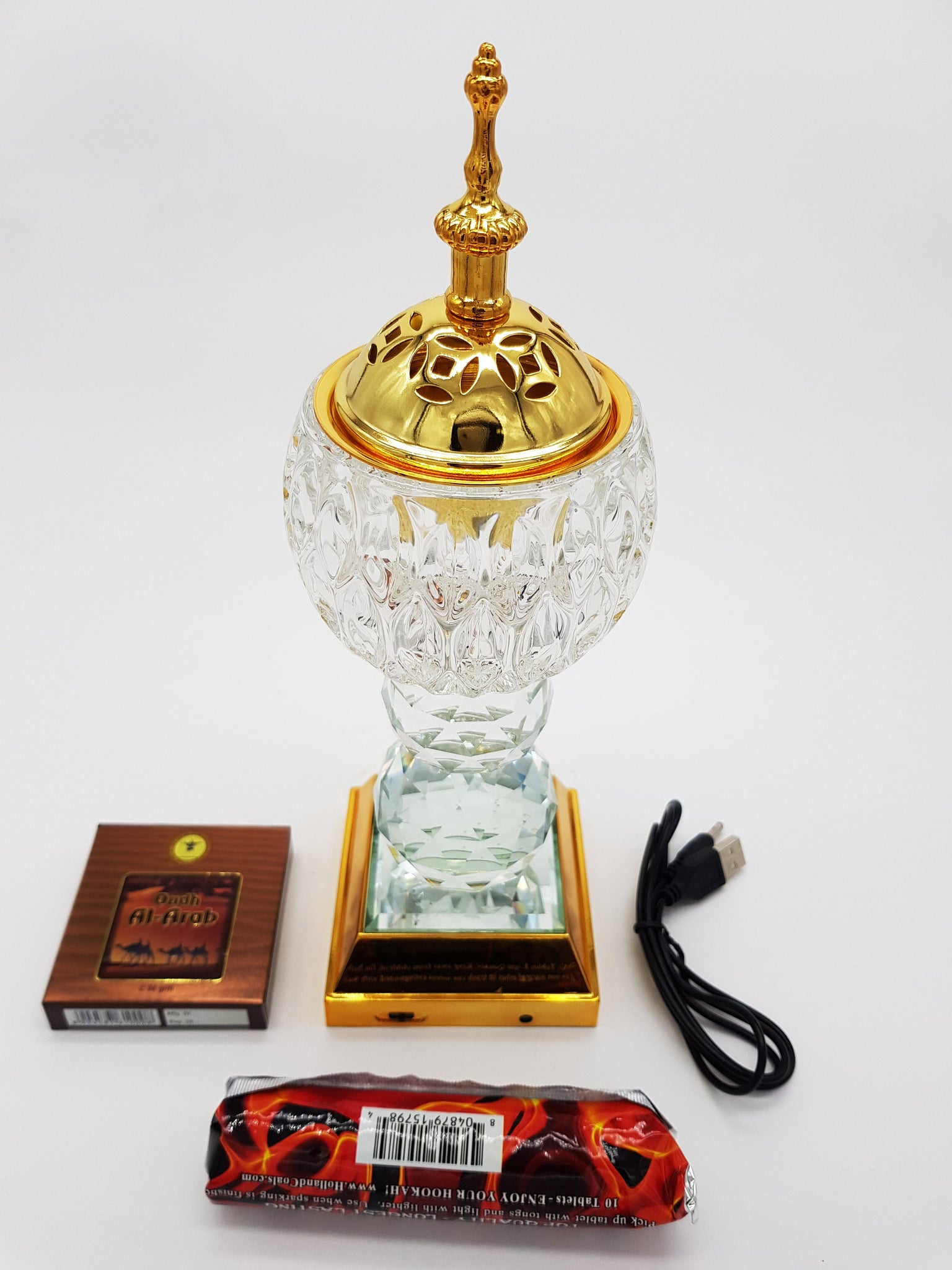 Crystal Bakhoor Burner with Rechargeble LED Lights & 50g Fragrance Paste & 10 Coal Coins
