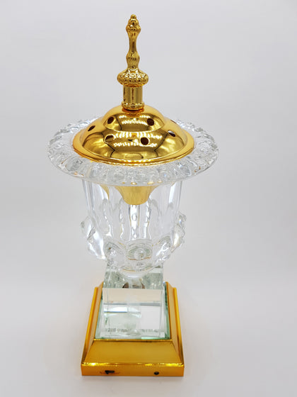 Crystal Bakhoor Burner with Rechargeble LED Lights, 50g Fragrance Paste & 10 Coal Coins